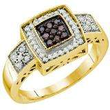 0.36 Carat (ctw) 10k Yellow Gold Round Champagne & White Diamond Ladies Cocktail Right Hand Ring