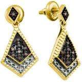 0.19 Carat (ctw) 18k Yellow Gold Plated Sterling Silver Round Diamond Ladies Micro Pave Dangling Earrings