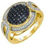 0.24 Carat (ctw) 18k Yellow Gold Plated Sterling Silver Blue Diamond Ladies Micro Pave Right Hand Ring
