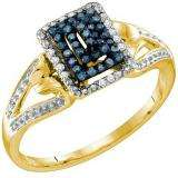 0.16 Carat (ctw) 10k Yellow Gold Blue & White Diamond Ladies Cocktail Right Hand Ring