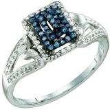 0.16 Carat (ctw) 10k White Gold Blue & White Diamond Ladies Cocktail Right Hand Ring
