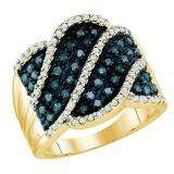 0.77 Carat (ctw) 10k Yellow Gold Round Blue & White Diamond Ladies Right Hand Fashion Ring