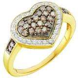 0.51 Carat (ctw) 10k Yellow Gold Round Brown & White Diamond Ladies Cocktail Heart Promise Ring
