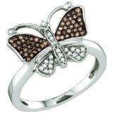 0.22 Carat (ctw) 10k White Gold Round Champagne & White Diamond Cocktail Right Hand Butterfly Ring