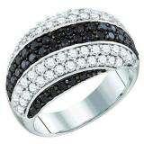 2.05 Carat (ctw) 10k White Gold Round Black & White Diamond Ladies Right Hand Fashion Band