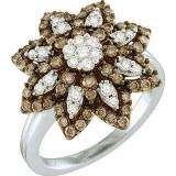 1.06 Carat (ctw) 10k White Gold Round Brown & White Diamond Ladies Right Hand Flower Ring
