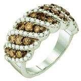 1.52 Carat (ctw) 10k White Gold Round Brown & White Diamond Ladies Right Hand Fashion Band