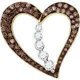 0.51 Carat (ctw) 10k Yellow Gold Round Brown & White Diamond Ladies Heart Pendant