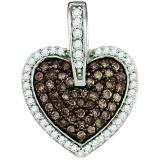 0.54 Carat (ctw) 10k White Gold Round White & Brown Diamond Ladies Heart Pendant