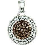 0.54 Carat (ctw) 10k White Gold Round Champagne & White Diamond Ladies Circle Pendant