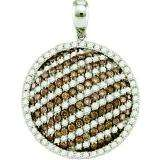 2.22 Carat (ctw) 10k White Gold Round White & Champagne Diamond Ladies Circle Pendant