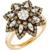 1.10 Carat (ctw) 10k Rose Gold Round Brown & White Diamond Ladies Right Hand Flower Ring