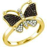 0.23 Carat (ctw) 10k Yellow Gold Round Black & White Diamond Cocktail Right Hand Butterfly Ring