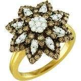 1.06 Carat (ctw) 10k Yellow Gold Round Brown & White Diamond Ladies Right Hand Flower Ring