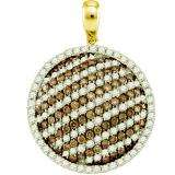 2.22 Carat (ctw) 10k Yellow Gold Round White & Champagne Diamond Ladies Circle Pendant