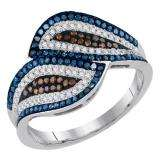 0.50 Carat (ctw) 10K White Gold Round Cognac Blue & White Diamond Ladies Micropave Bypass Cocktail Right Hand Ring 1/2 CT
