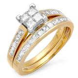 1.00 Carat (ctw) 10k Yellow Gold ALL Princess Cut White Diamond Diamond Ladies Bridal Engagement Ring Matching Band Set