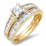 1.00 Carat (ctw) 10k Yellow Gold Princess and Round Diamond Ladies Bridal Engagement Ring Matching Band Set