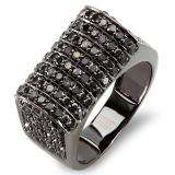 2.50 Carat (ctw) 10k Black Rhodium Plated White Gold Round Black Diamond Mens Hip Hop Pinky Ring