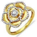 0.25 Carat (ctw) 18k Yellow Gold Plated Sterling Silver Round Diamond Ladies Cocktail Right Hand Flower Ring 1/4 CT