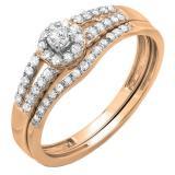 0.40 Carat (ctw) 18k Rose Gold Round Diamond Ladies Split Shank Halo Style Bridal Engagement Ring Matching Band Set