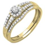 0.40 Carat (ctw) 10k Yellow Gold Round Diamond Ladies Split Shank Halo Style Bridal Engagement Ring Matching Band Set