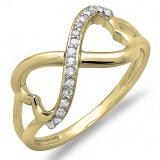 0.15 Carat (ctw) 18K Yellow Gold Round Diamond Ladies Promise Two Double Heart Infinity Love Engagement Ring