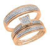 0.50 Carat (ctw) 14k Rose Gold Round Diamond Men's & Women's Micro Pave Engagement Ring Trio Bridal Wedding Band Set 1/2 CT