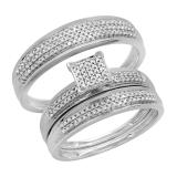 0.50 Carat (ctw) 14k White Gold Round Diamond Men's & Women's Micro Pave Engagement Ring Trio Bridal Wedding Band Set 1/2 CT