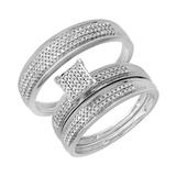 0.50 Carat (ctw) 14k White Gold Round Diamond Men's & Women's Micro Pave Engagement Ring Trio Bridal Wedding Band Set 1/2 CT