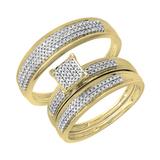 0.50 Carat (ctw) 14K Yellow Gold Round Diamond Men's & Women's Micro Pave Engagement Ring Trio Bridal Wedding Band Set 1/2 CT