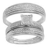 0.50 Carat (ctw) 10k White Gold Round Diamond Men's & Women's Micro Pave Engagement Ring Trio Bridal Wedding Band Set 1/2 CT
