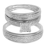 0.50 Carat (ctw) 10k White Gold Round Diamond Men's & Women's Micro Pave Engagement Ring Trio Bridal Wedding Band Set 1/2 CT