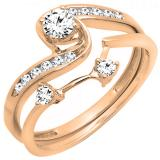 0.50 Carat (ctw) 10k Rose Gold Round Diamond Ladies Swirl Bridal Engagement Ring Matching Band Set 1/2 CT