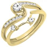 0.50 Carat (ctw) 10k Yellow Gold Round Diamond Ladies Swirl Bridal Engagement Ring Matching Band Set 1/2 CT