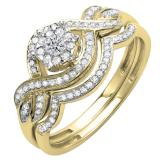 0.40 Carat (ctw) 14k Yellow Gold Round Diamond Ladies Bridal Engagement Ring Matching Band Set