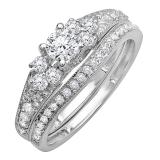 1.00 Carat (ctw) 14k White Gold Round Diamond Ladies Bridal Engagement Ring Matching Band Set