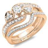 0.75 Carat (ctw) 14K Rose Gold Round Diamond Ladies Bridal Engagement Ring With Two Wedding Bands 3 Piece Set 3/4 CT