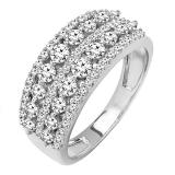 1.15 Carat (ctw) 14k White Gold Round Diamond Ladies Anniversary Wedding Band Ring