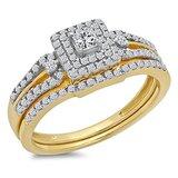 0.50 Carat (ctw) 14k Yellow Gold Round & Princess Diamond Ladies Bridal Engagement Ring Matching Band Set 1/2 CT