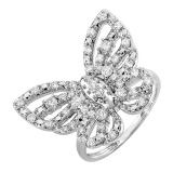 0.70 Carat (ctw) Round White Diamond Ladies Butterfly Cocktail Right Hand Ring 3/4 CT 10K White Gold