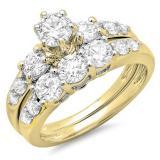 3.00 Carat (ctw) 10k Yellow Gold Round White Cubic Zirconia Ladies 3 Stone Bridal Engagement Ring Matching Band Set 3 CT