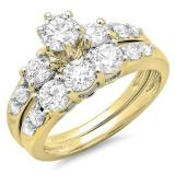 1.80 Carat (ctw) 14k Yellow Gold Round Diamond Ladies 3 Stone Bridal Engagement Ring Matching Band Set