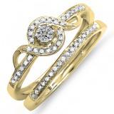 0.25 Carat (ctw) 18K Yellow Gold Round Diamond Ladies Bridal Promise Ring Set Matching Band 1/4 CT