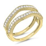 0.45 Carat (ctw) 14K Yellow Gold Round Diamond Ladies Anniversary Wedding Band Millgrain Guard Double Ring 1/2 CT