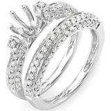 1.00 Carat (Ctw) 14k White Gold Brilliant Round Diamond Vintage Antique Look Semi Mount Ladies Bridal Engagement Ring Set (No Center Stone) 1 CT
