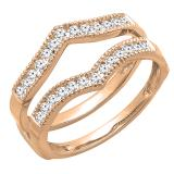 0.45 Carat (ctw) Round Diamond Ladies Wedding Enhancer Guard Double Ring 1/2 CT, 10K Rose Gold