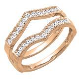 0.45 Carat (ctw) Round Diamond Ladies Wedding Enhancer Guard Double Ring 1/2 CT, 14K Rose Gold