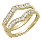0.45 Carat (ctw) Round Diamond Ladies Wedding Enhancer Guard Double Ring 1/2 CT, 18K Yellow Gold