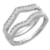 0.45 Carat (ctw) Round Diamond Ladies Wedding Enhancer Guard Double Ring 1/2 CT, 14K White Gold